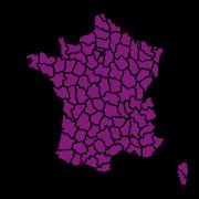 carte de répartition de Recherche par départements
